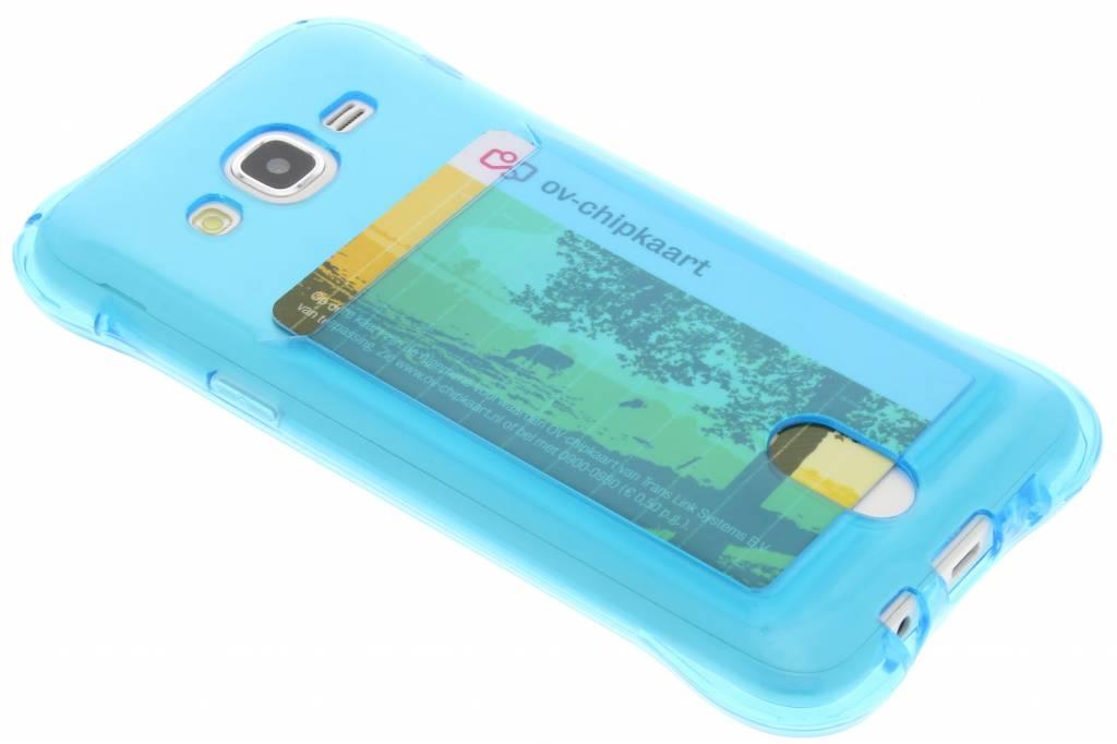 Blauw TPU hoesje met vakje voor de Samsung Galaxy J5