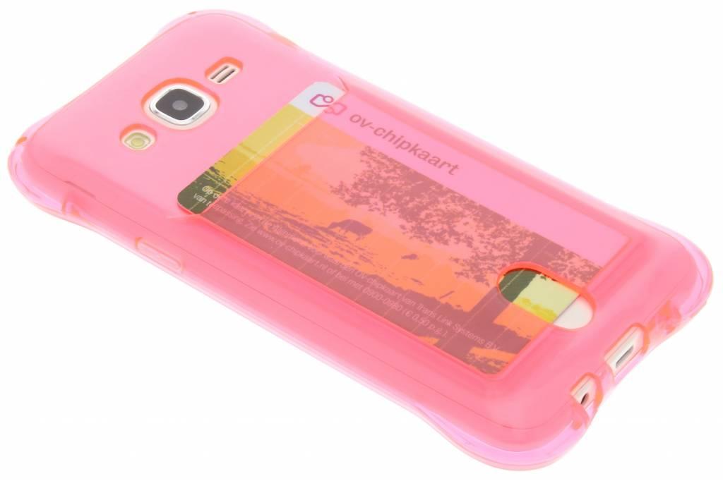 Roze TPU hoesje met vakje voor de Samsung Galaxy J5