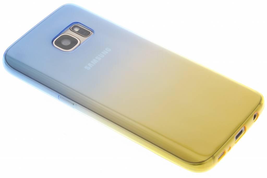 Blauw/geel tweekleurig transparant TPU siliconen hoesje voor de Samsung Galaxy S7