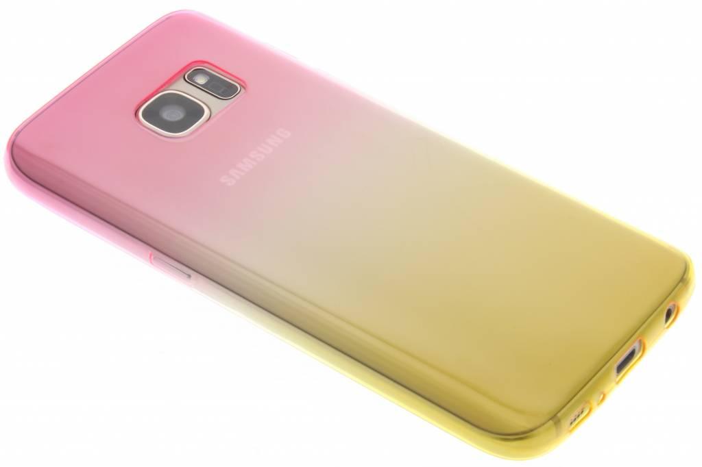 Roze/geel tweekleurig transparant TPU siliconen hoesje voor de Samsung Galaxy S7