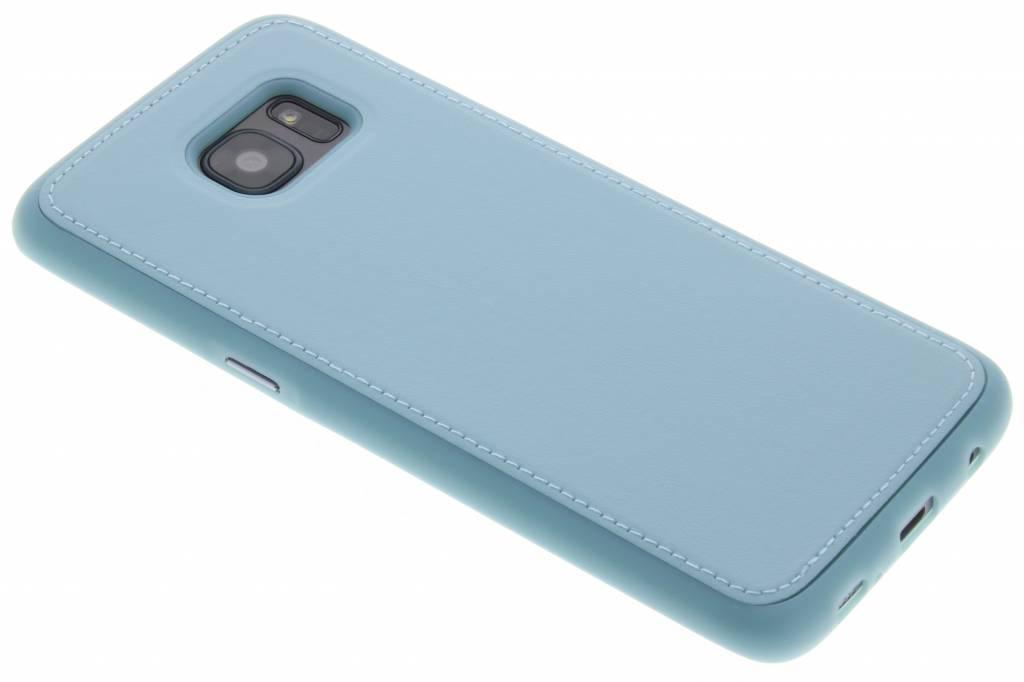 Turquoise lederen TPU case voor de Samsung Galaxy S7 edge