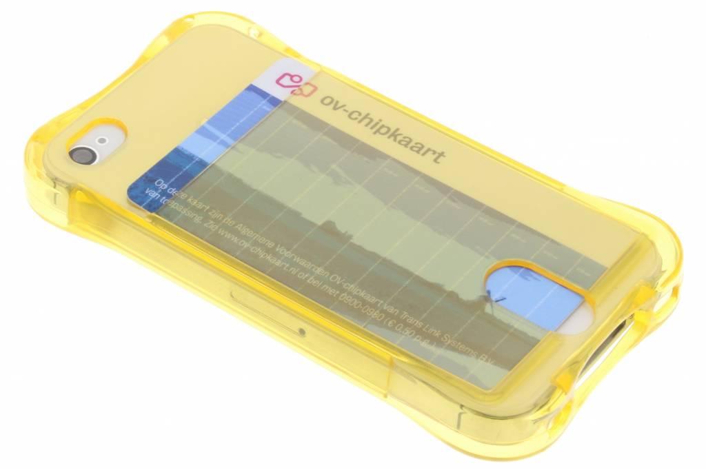 Geel TPU hoesje met vakje voor de iPhone 4 / 4s