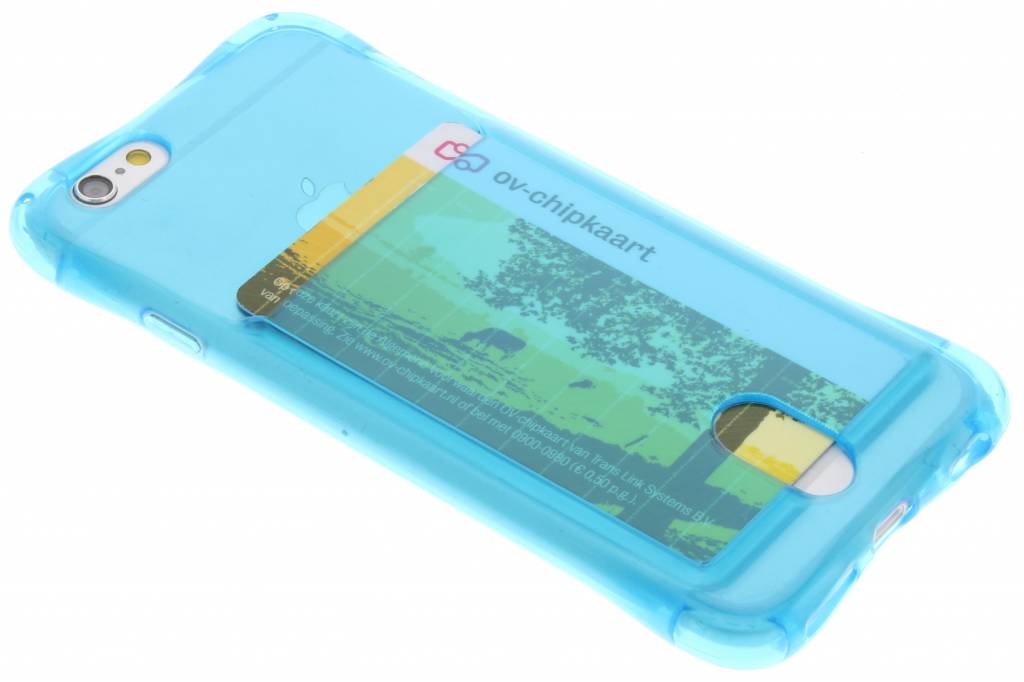Blauw TPU hoesje met vakje voor de iPhone 6 / 6s