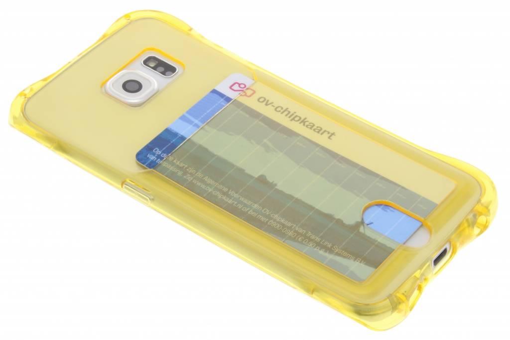Geel TPU hoesje met vakje voor de Samsung Galaxy S6 Edge