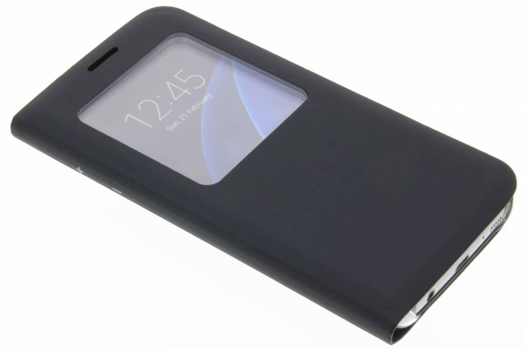 Zwarte slim booktype hoes met venster voor de Samsung Galaxy S7