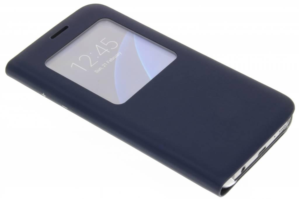 Donkerblauwe slim booktype hoes met venster voor de Samsung Galaxy S7