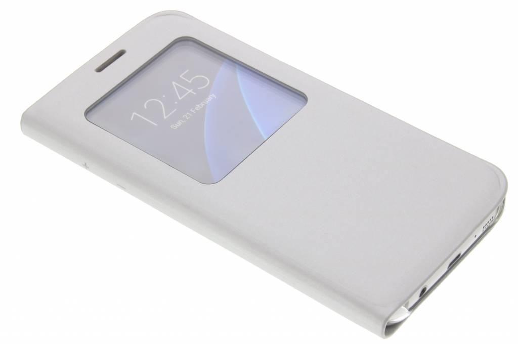 Zilveren slim booktype hoes met venster voor de Samsung Galaxy S7