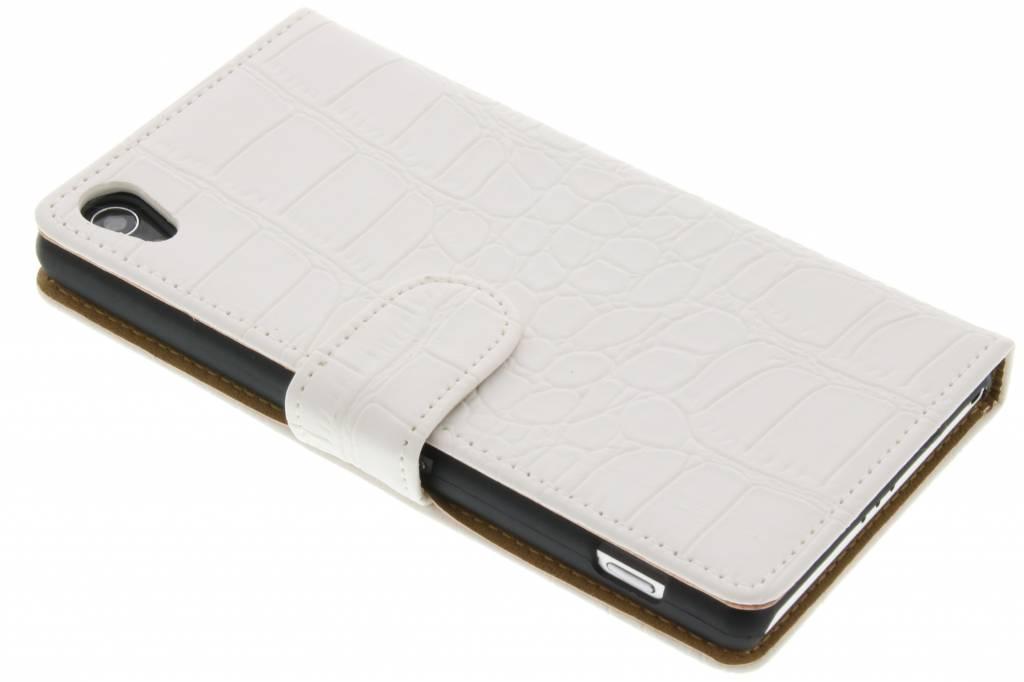 Witte krokodil booktype hoes voor de Sony Xperia Z2