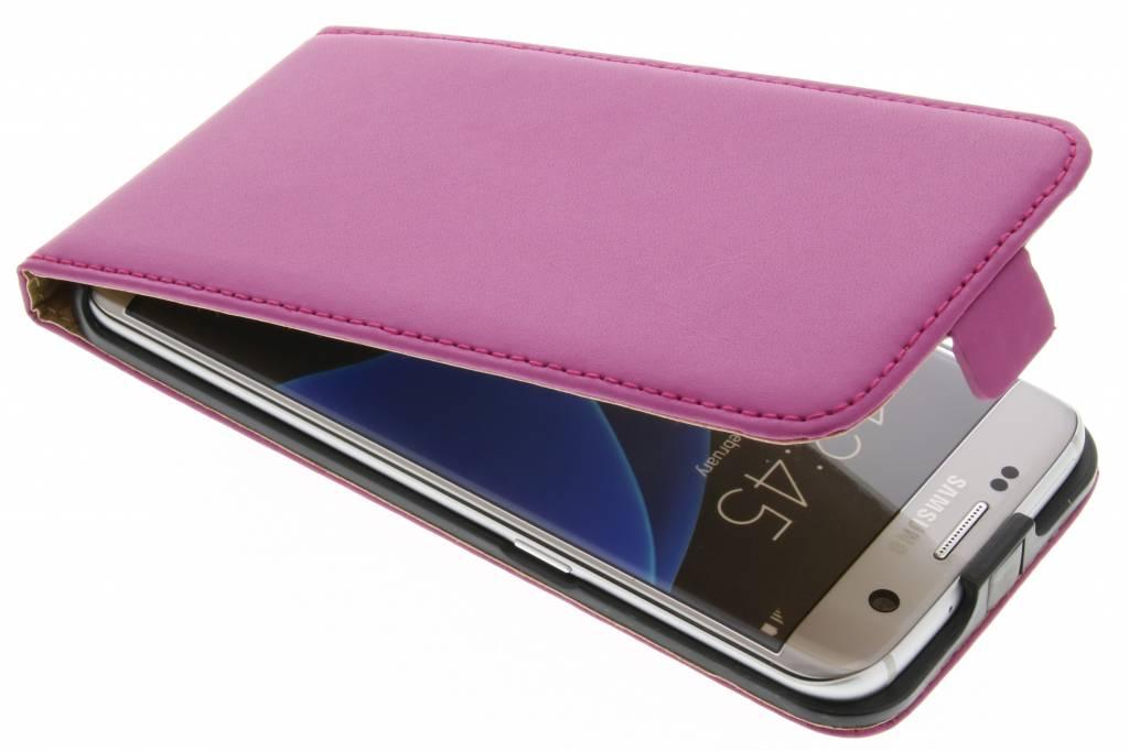Fuchsia luxe flipcase voor de Samsung Galaxy S7