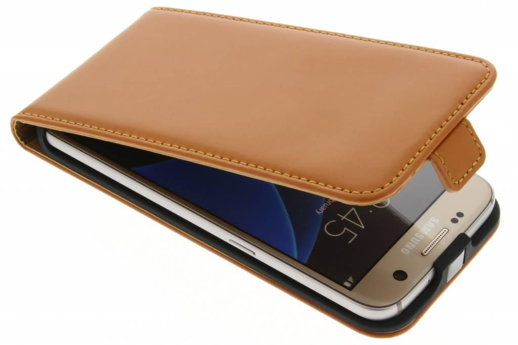 Selencia Luxe lederen Flipcase voor de Samsung Galaxy S7 - Oker