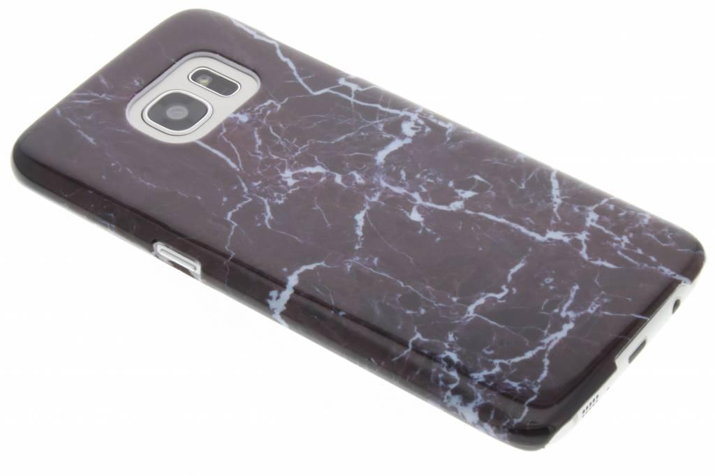 Donkerpaarse marmer hardcase hoesje voor de Samsung Galaxy S7 Edge