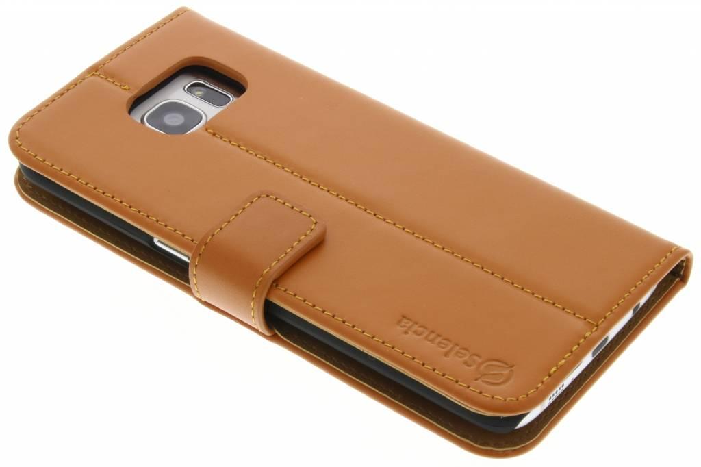 Selencia Luxe lederen booktype hoes voor de Samsung Galaxy S7 Edge - Oker