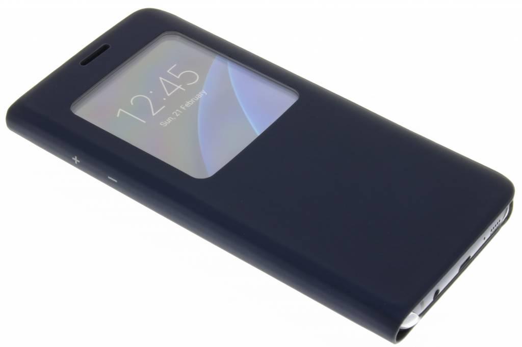 Donkerblauwe slim booktype hoes met venster voor de Samsung Galaxy S7 Edge