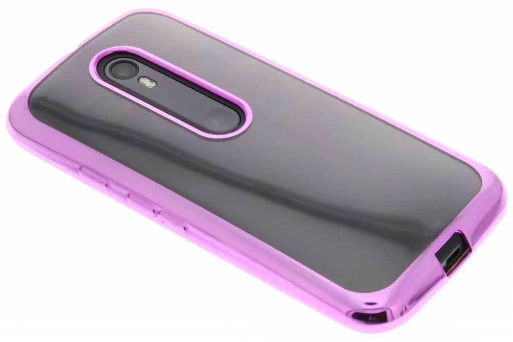 Roze TPU hoesje met metallic rand voor de Motorola Moto G 3rd Gen 2015