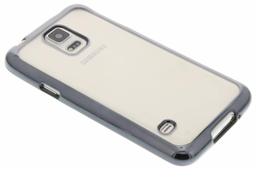 Donkergrijs TPU hoesje met metallic rand voor de Samsung Galaxy S5 (Plus) Neo