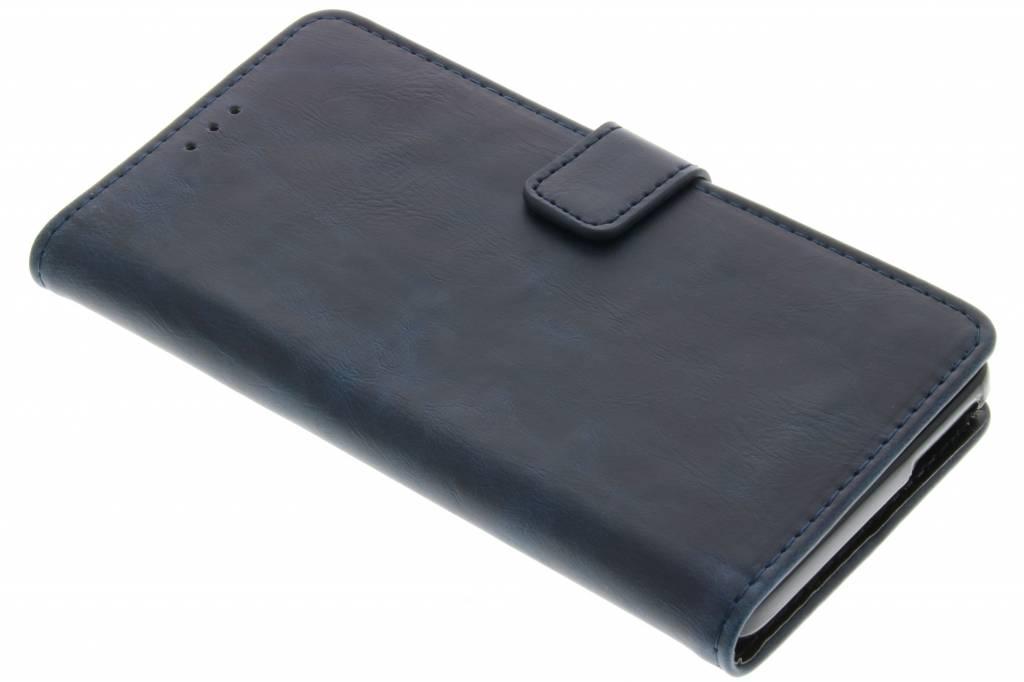 Donkerblauwe luxe leder booktype hoes voor de Wiko Pulp 4G