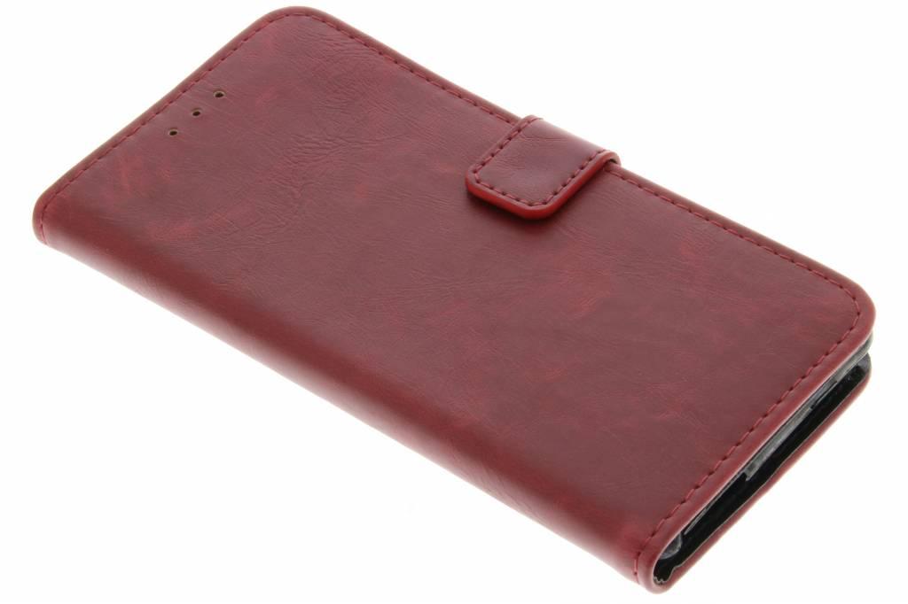 Rode luxe leder booktype hoes voor de Wiko Fever 4G