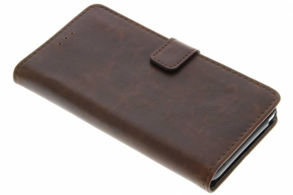 Bruine luxe leder booktype hoes voor de Wiko Lenny 2