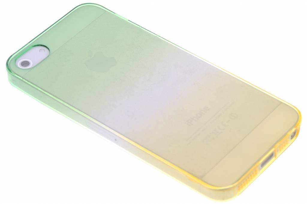 Groen/geel tweekleurig transparant TPU siliconen hoesje voor de iPhone 5 / 5s / SE