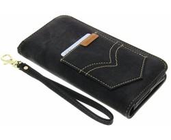 Zwart universeel Denim Jeans portemonnee hoesje maat L