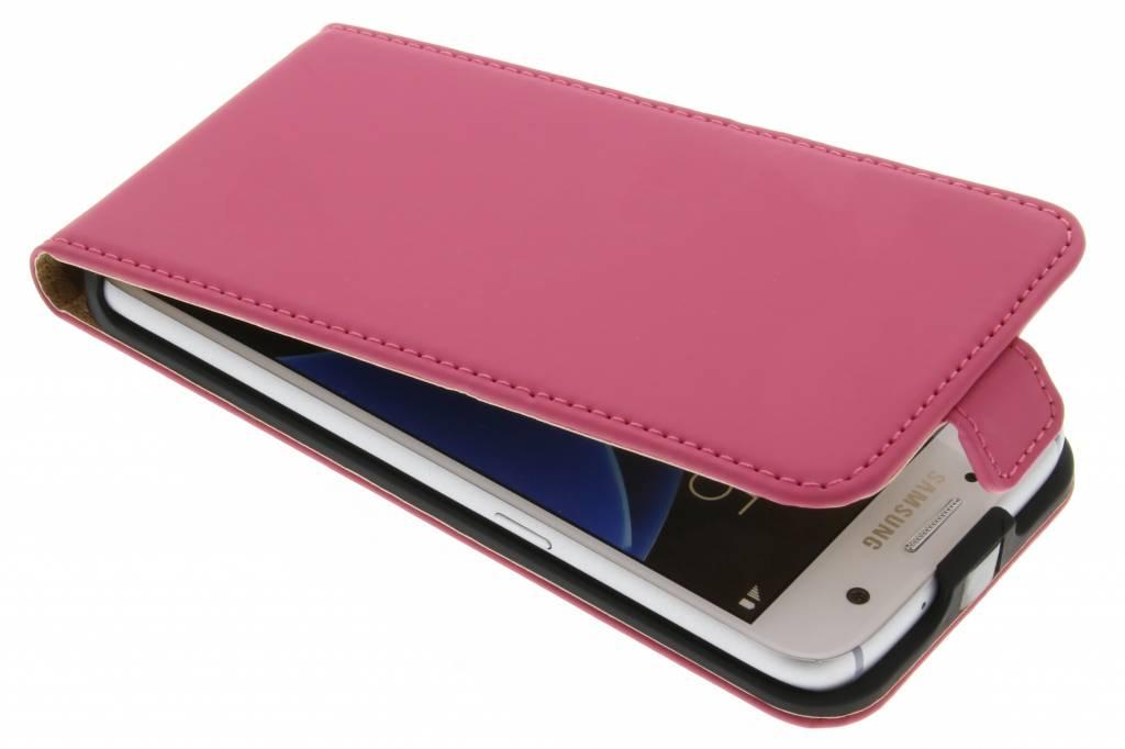 Selencia Luxe Flipcase voor de Samsung Galaxy S7 - Fuchsia