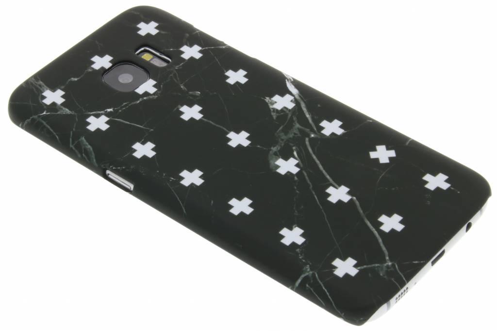 Zwart marmer plus design hardcase hoesje voor de Samsung Galaxy S7 Edge