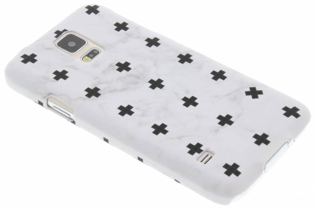 Wit marmer plus design hardcase hoesje voor de Samsung Galaxy S5 (Plus) / Neo