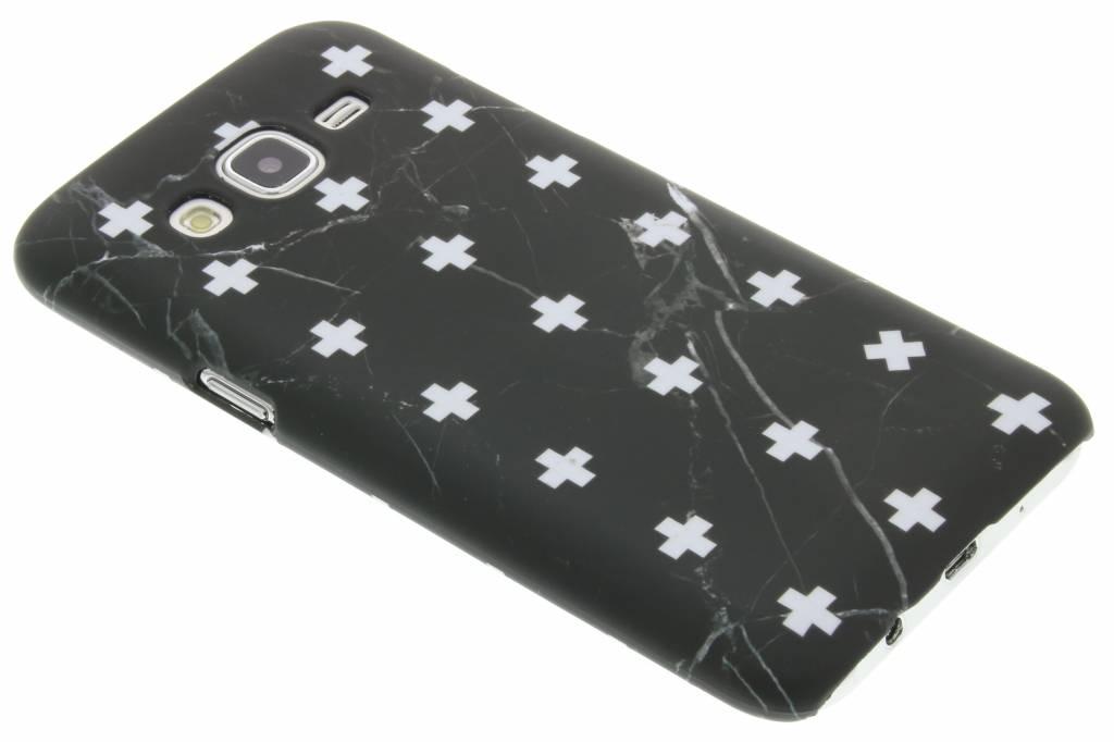 Zwart marmer plus design hardcase hoesje voor de Samsung Galaxy J5