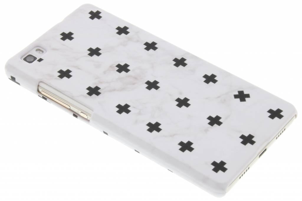 Wit marmer plus design hardcase hoesje voor de Huawei P8 Lite