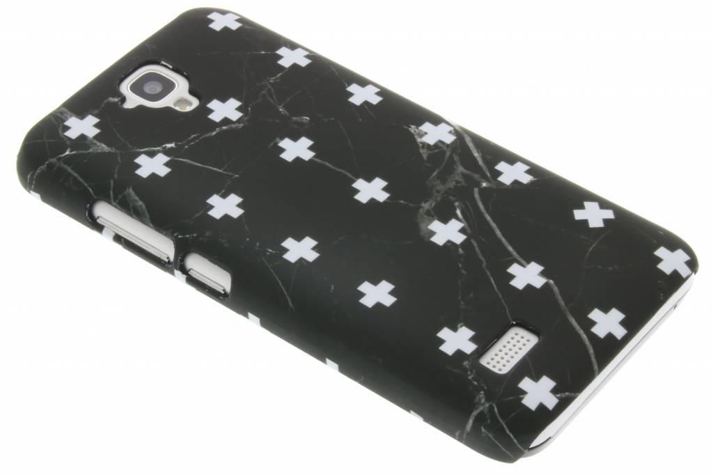 Zwart marmer plus design hardcase hoesje voor de Huawei Y5