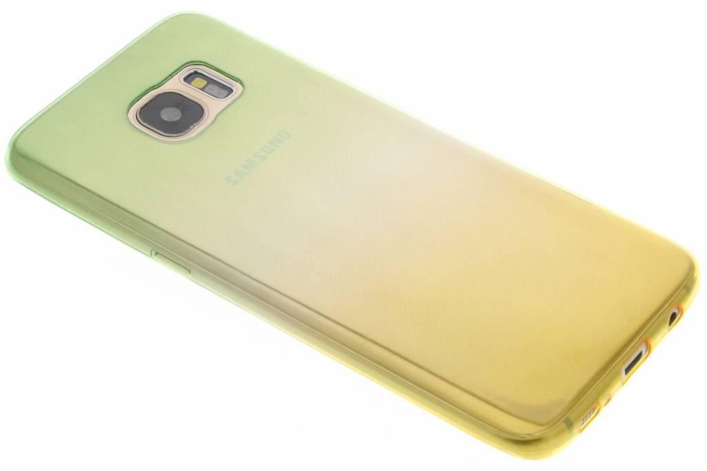 Groen/geel tweekleurig TPU siliconen hoesje voor de Samsung Galaxy S7 Edge