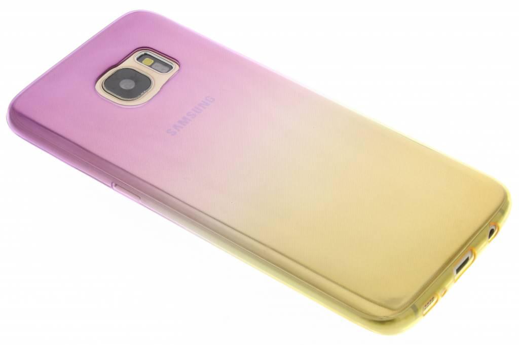 Paars/geel tweekleurig TPU siliconen hoesje voor de Samsung Galaxy S7 Edge
