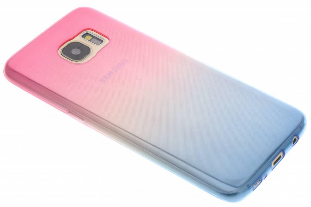 Roze/blauw tweekleurig TPU siliconen hoesje voor de Samsung Galaxy S7 Edge