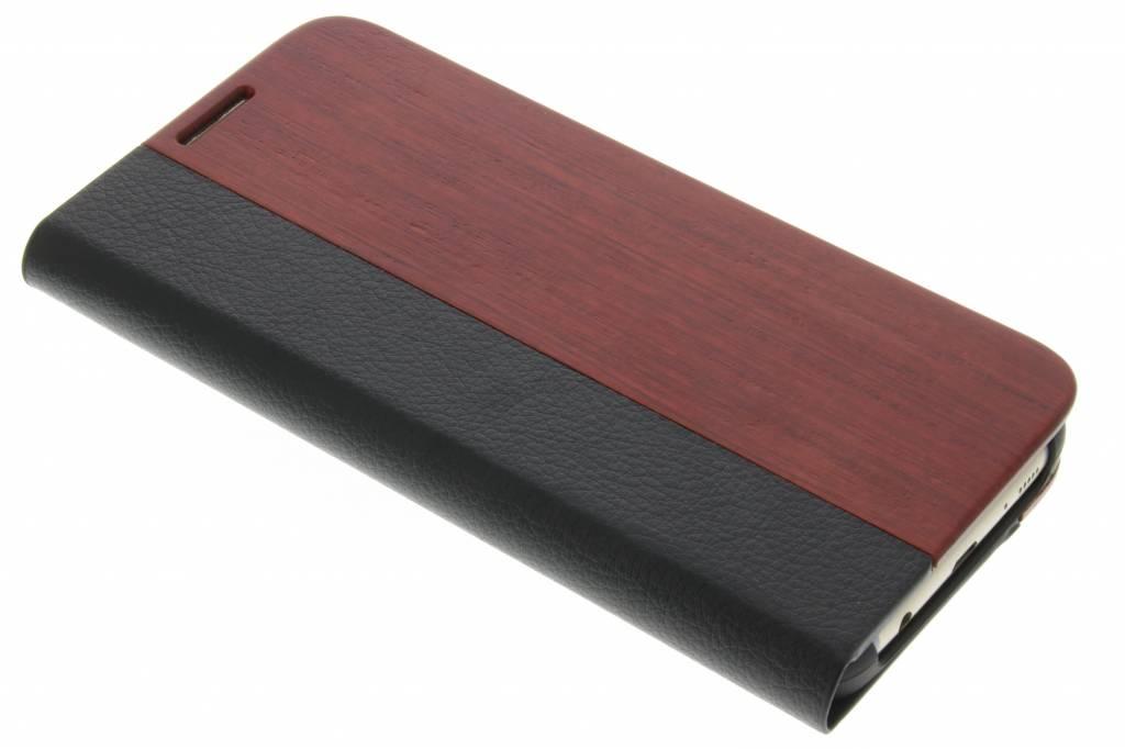 Kastanjebruin hout lederen booktype hoes voor de Samsung Galaxy S7 Edge