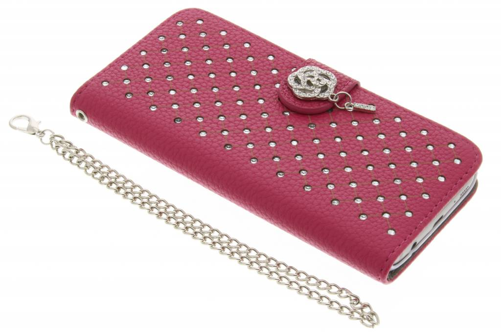 Fuchsia chique strass booktype hoes voor de Samsung Galaxy S7