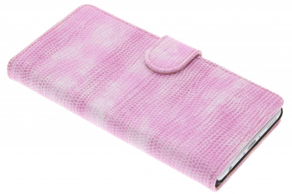 Roze hagedis design booktype hoes voor de Huawei P9