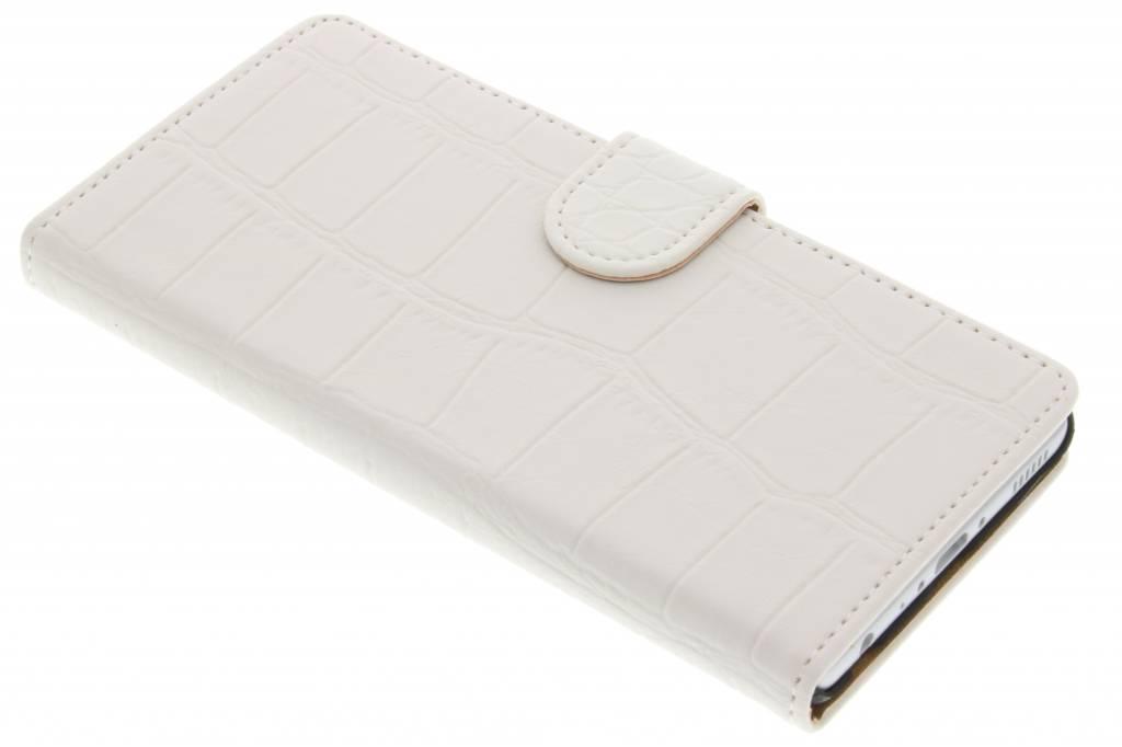 Witte krokodil booktype hoes voor de Huawei P9