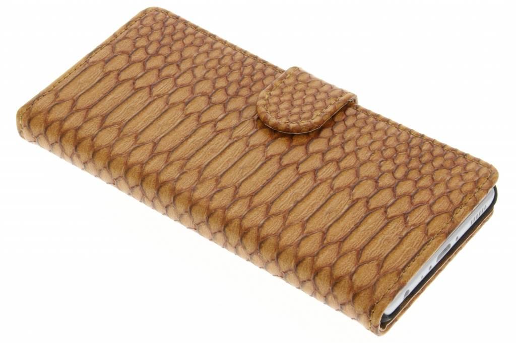 Bruine slangen booktype hoes voor de Huawei P9