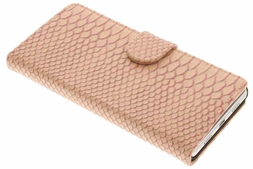 Roze slangen booktype hoes voor de Huawei P8 Lite