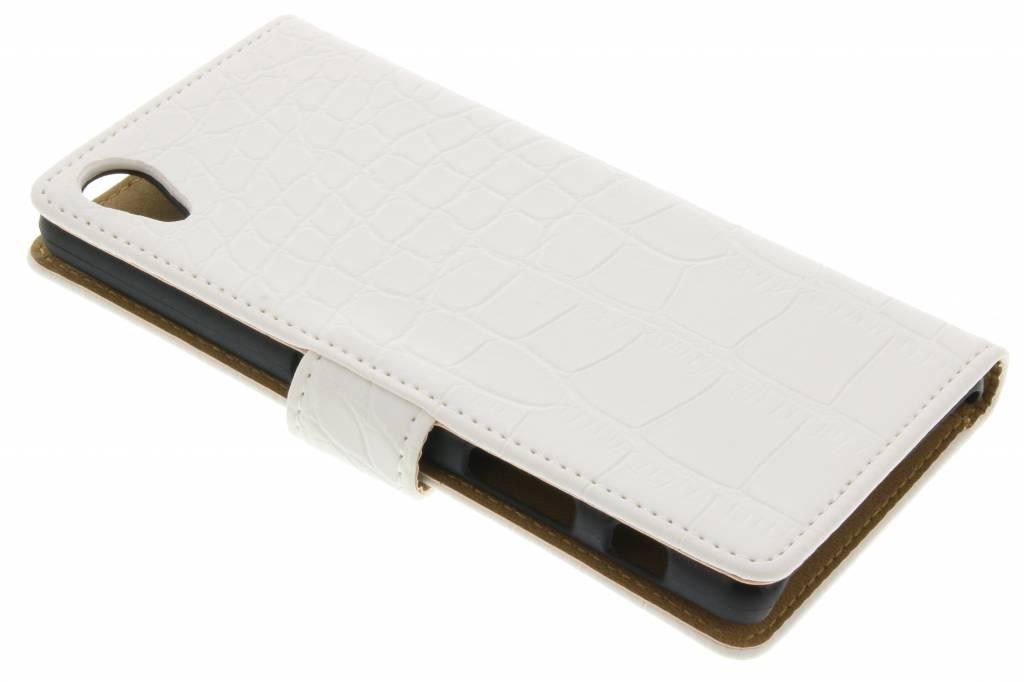 Crocodile Blanc Boîtier De Type Livre Pour La Performance Sony Xperia X nRn5S