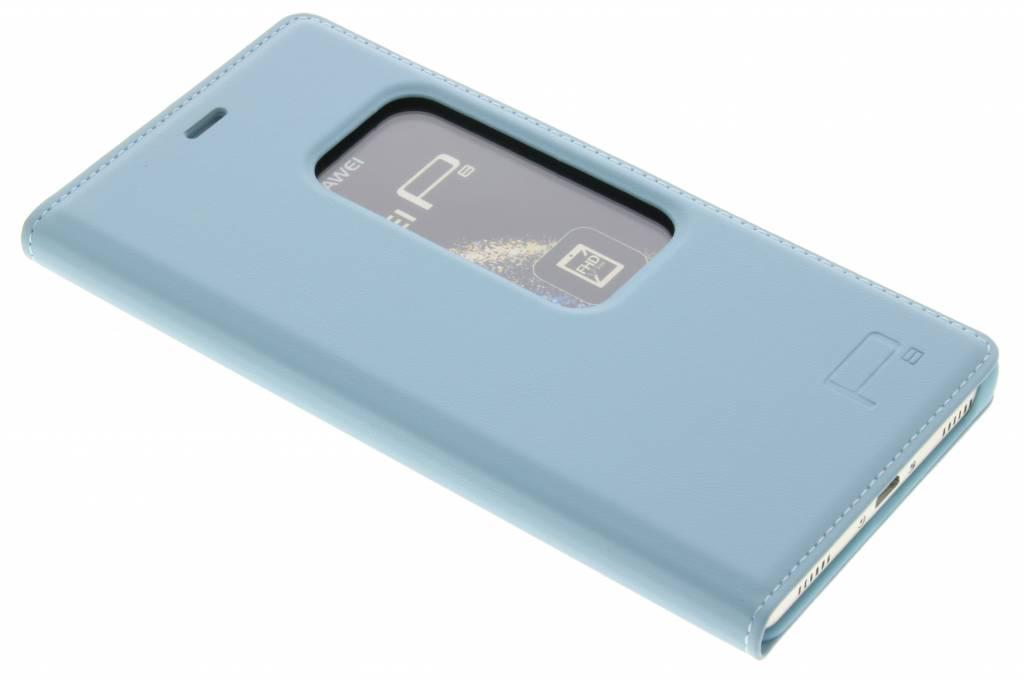 Staalblauwe slim booktype met venster voor de Huawei P8