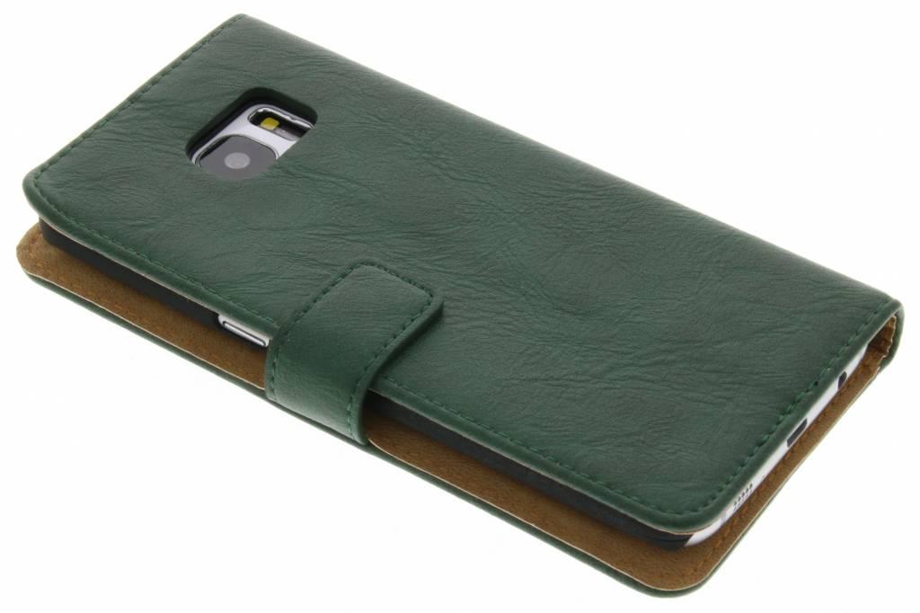 Groene kreukelleder booktype hoes voor de Samsung Galaxy S7 Edge