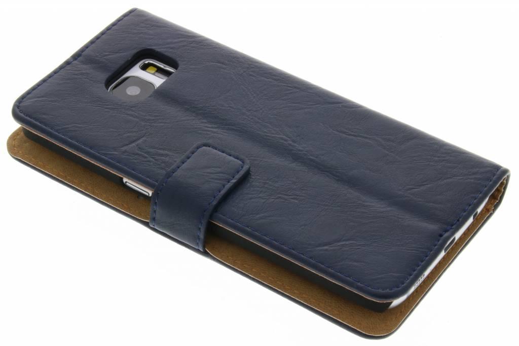 Donkerblauwe kreukelleder booktype hoes voor de Samsung Galaxy S7 Edge