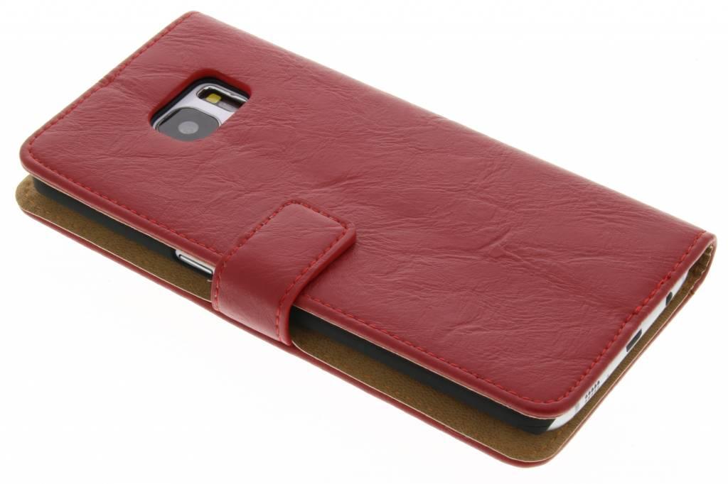 Rode kreukelleder booktype hoes voor de Samsung Galaxy S7 Edge