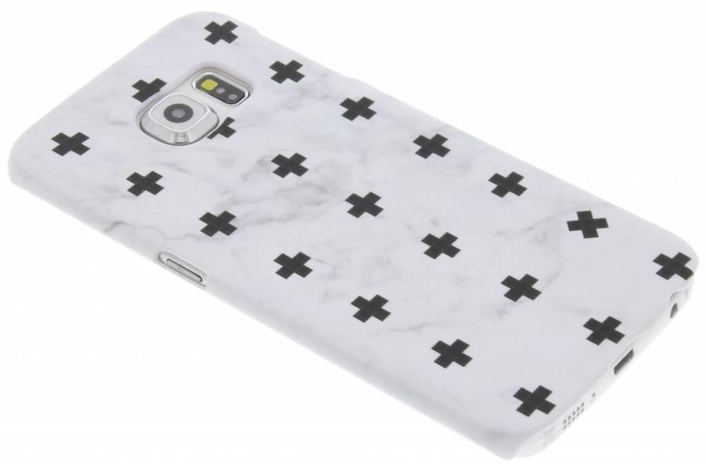 Wit marmer plus design hardcase hoesje voor de Samsung Galaxy S6 Edge
