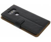 Zwart kreukelleder booktype hoes LG G5