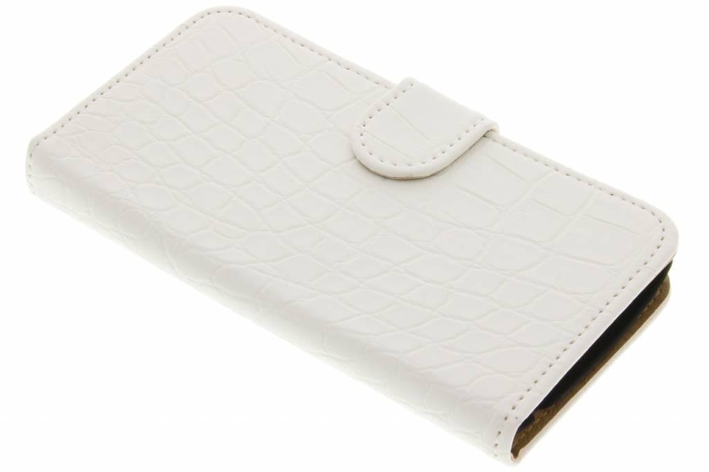 Witte krokodil booktype hoes voor de LG K4