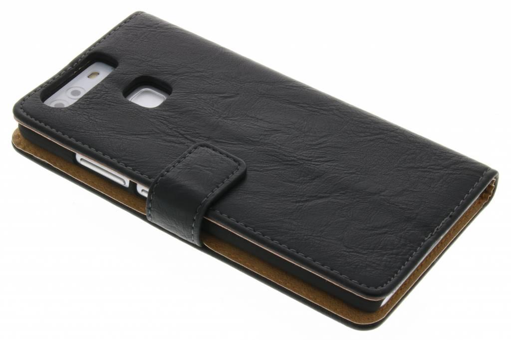 Zwarte kreukelleder booktype hoes voor de Huawei P9