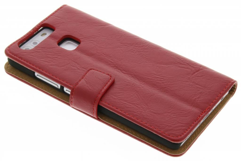 Rode kreukelleder booktype hoes voor de Huawei P9