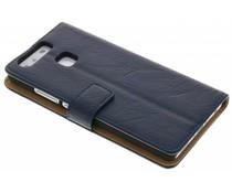 Donkerblauw kreukelleder booktype hoes Huawei P9